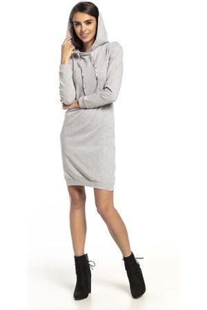 Tessita Jasnoszara kwiatowa sukienka w sportowym stylu z kapturem w zygzaki