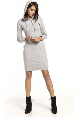 Tessita Jasnoszara dresowa sukienka w sportowym stylu z kapturem