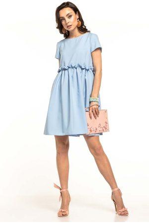 Tessita Jasnoniebieska letnia wygodna sukienka z marszczonym dołem