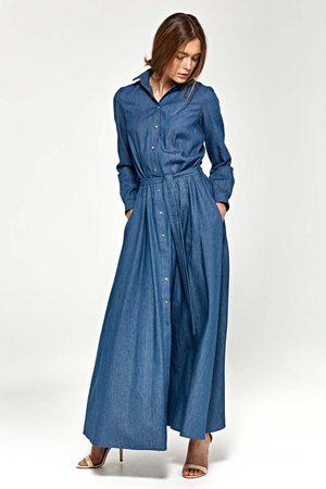 Nife Jeansowa koszulowa sukienka maxi z długim rękawem