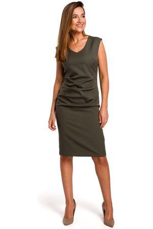 MOE Khaki dopasowana sukienka bez rękawów z elementami drapowania