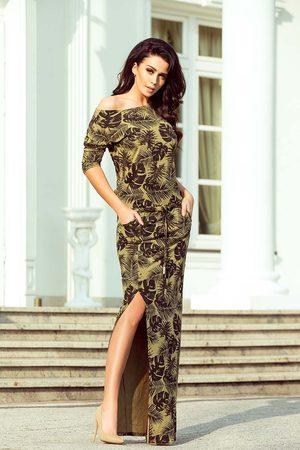 Numoco Khaki dzianinowa maxi sukienka w liście z rozporkiem