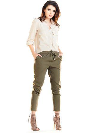 Awama Khaki casualowe spodnie z lampasami