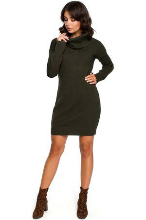 MOE Khaki długi sweter- sukienka z szerokim golfem