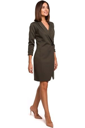 MOE Khaki elegancka żakietowa sukienka na jeden guzik