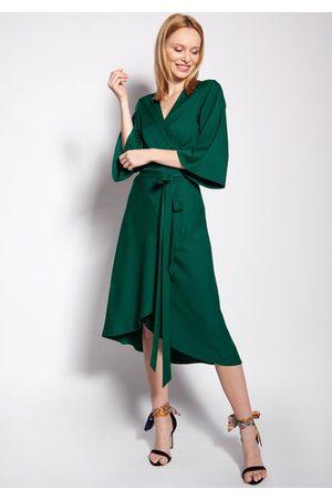 Lanti Kopertowa sukienka z rozkloszowanym rękawem - zielona