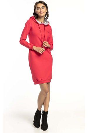 Tessita Kobieta Sukienki koktajlowe i wieczorowe - Koralowo jasnoszara dresowa sukienka w sportowym stylu z kapturem