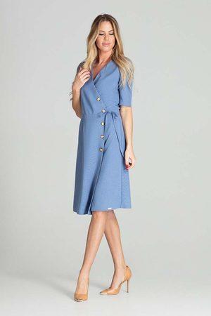 Figl Kopertowa sukienka z krótkim rękawem - niebieska