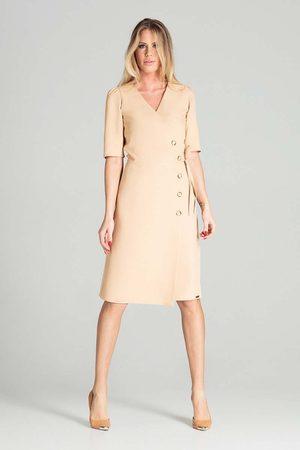 Figl Kopertowa sukienka z krótkim rękawem - beżowa