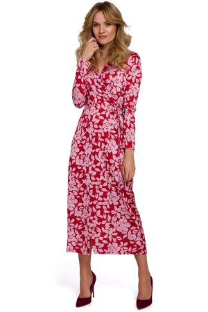 MOE Kopertowa sukienka w kwiaty wiązana na boku - model 1