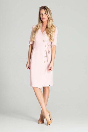 Figl Kobieta Sukienki koktajlowe i wieczorowe - Kopertowa sukienka z krótkim rękawem - różowa