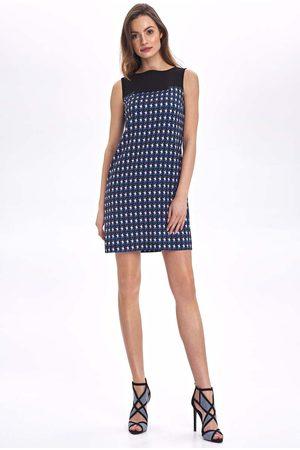 Nife Krótka sukienka bez rękawów z graficznym wzorem