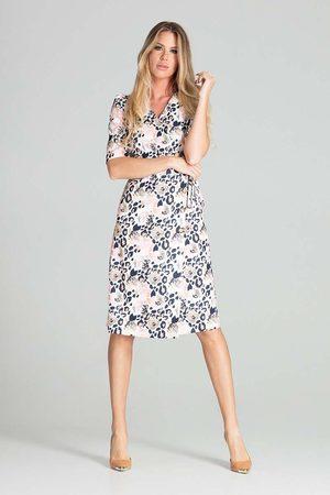 Figl Kopertowa sukienka z krótkim rękawem - wzór 112