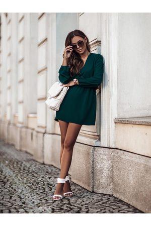 Ivon Lekka sukienka w serek z gumką w talii - zielona