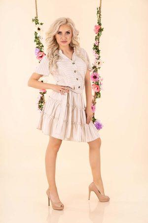 Merribel Letnia sukienka w paski z falbankami - beżowa