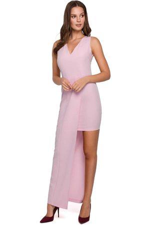 Makeover Liliowa asymetryczna długa sukienka wieczorowa