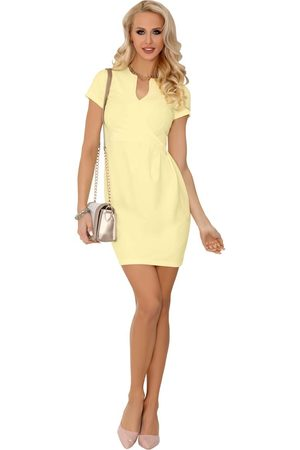 Merribel Limonkowa wizytowa sukienka z krótkim rękawem