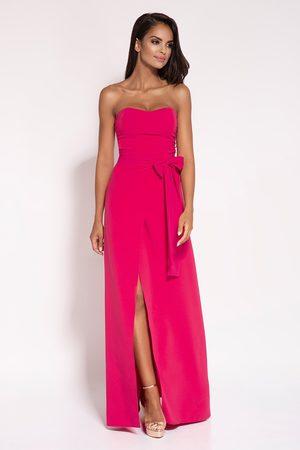 Dursi Malinowa wieczorowa maxi sukienka z odkrytymi ramionami