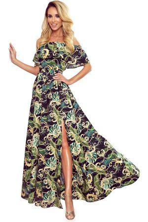 Numoco Maxi sukienka z hiszpańskim dekoltem w zielone liście