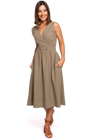 MOE Letnia sukienka z podkreśloną talią -khaki