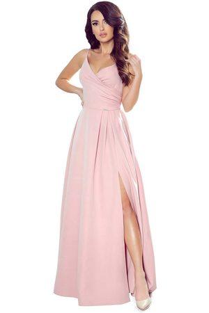 Numoco Kobieta Sukienki maxi - Maxi sukienka na ramiączkach z kopertowym dekoltem - różowa