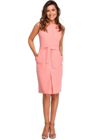 MOE Łososiowa ołówkowa sukienka bez rękawów z kontrafałdą
