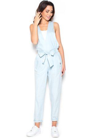 Katrus Kobieta Spodnie - Modne błękitne spodnie ogrodniczki z kokardą