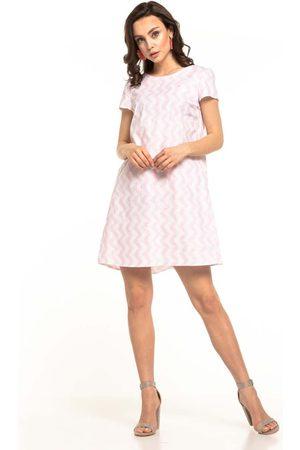 Tessita Letnia sukienka z kontrafałdą wzór zygzag
