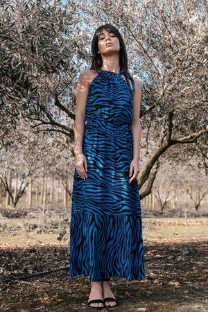 MOE Maxi wzorzysta sukienka wiązana przy szyi - niebieska