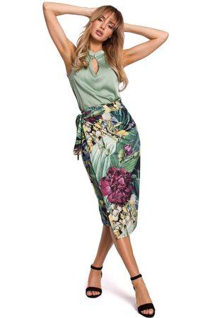 MOE Midi spódnica na zakładkę w duże kwiaty - model 2