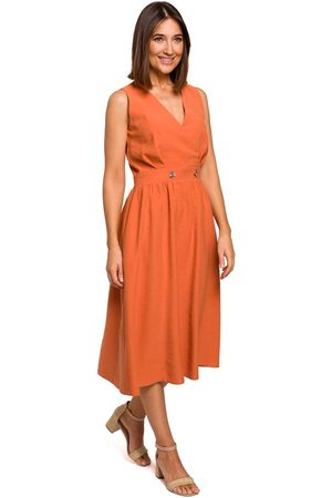 MOE Letnia sukienka z podkreśloną talią -pomarańczowa