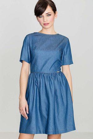 Katrus Kobieta Sukienki koktajlowe i wieczorowe - Niebieska bawełniana sukienka z krótkim rękawem