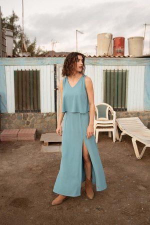 MOE Kobieta Sukienki maxi - Niebieska długa sukienka z dwuwarstwową górą