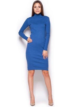 Figl Kobieta Sukienki dzienne - Niebieska casualowa prążkowana sukienka z golfem