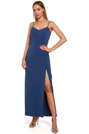 Moe Kobieta Sukienki maxi - Niebieska maxi sukienka na ramiączkach z połyskiem
