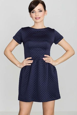 Katrus Kobieta Sukienki koktajlowe i wieczorowe - Niebieska pikowana sukienka z krótkim rękawem