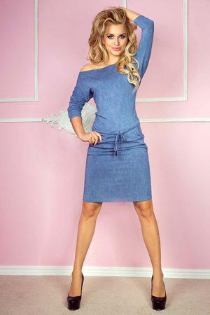 Numoco Kobieta Spódnice i sukienki - Niebieska sukienka sportowa ściągana w pasie