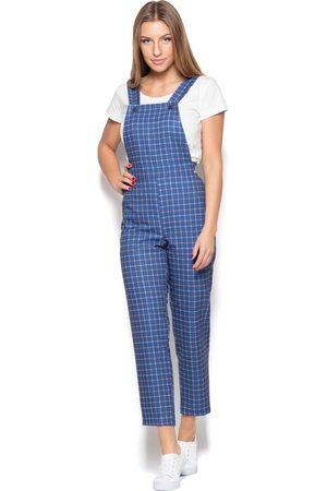Katrus Niebieskie spodnie ogrodniczki w kratę