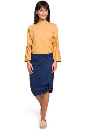 Moe Kobieta Spódnice ołówkowe - Ołówkowa spódnica midi z ozdobnym marszczeniem - denim