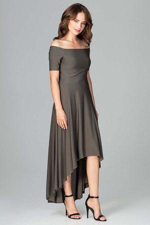 Katrus Oliwkowa długa asymetryczna sukienka z odkrytymi ramionami