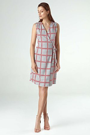 Nife Pepitka wzorzysta letnia sukienka kopertowa