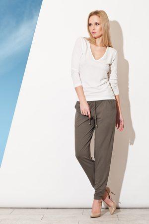 Figl Kobieta Spodnie - Oliwkowe długie spodnie z troczkami