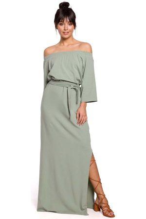 MOE Pistacjowa dzianinowa długa sukienka z szerokim dekoltem