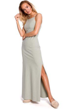 MOE Pistacjowa maxi dresowa sukienka na wąskich ramiączkach