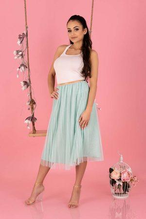 Merribel Kobieta Spódnice midi - Plisowana tiulowa midi spódnica na gumie -miętowa