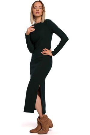 MOE Prążkowana maxi sukienka z rozcięciem - zielona