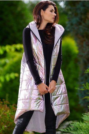 Awama Kobieta Kamizelki - Pikowana asymetryczna kamizelka z kapturem - różowa