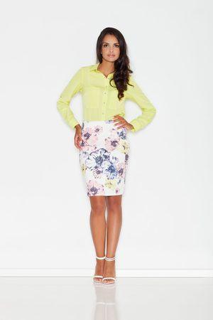 Figl Kobieta Spódnice z nadrukiem - Ołówkowa spódnica przed kolano w pastelowe kwiaty