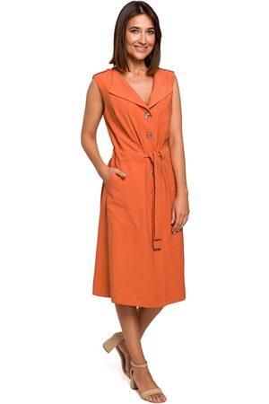 MOE Pomarańczowa sukienka midi typu szmizjerka bez rękawów