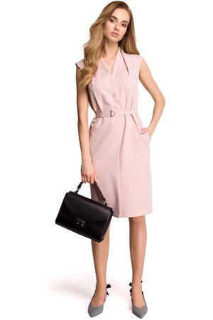 MOE Kobieta Sukienki bez rękawów - Pudrowa wizytowa sukienka szmizjerka bez rękawów